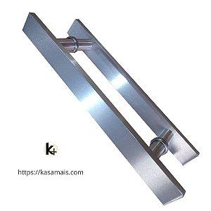 Puxador Porta 30cm total x 20cm entre furos Plano Escovado
