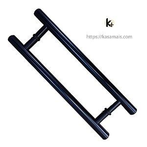 Puxador Porta 40cm total x 30cm entre furos Tubular H Preto