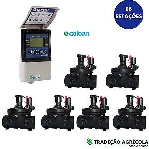 """KIT AUTOMAÇÃO - 06 ESTAÇÕES  - GALCON 6S + VALVULAS DE 1.1/2"""" ELÉTRICA"""