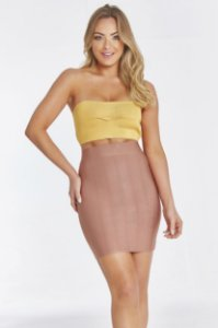 Top Cropped Mica Amarelo Ouro
