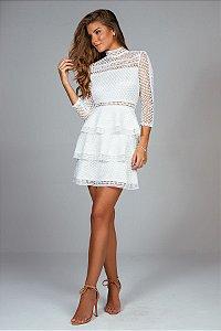 Vestido Curto Evasê Manga Longa Claudia Branco