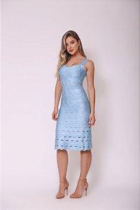 Vestido Midi Evasê Alina Azul Bebê