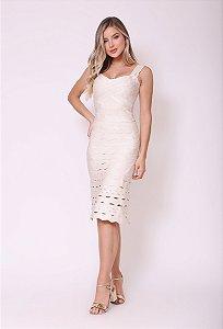 Vestido Midi Evasê Alina Off White
