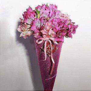 Buquê Shine Astromélia pink