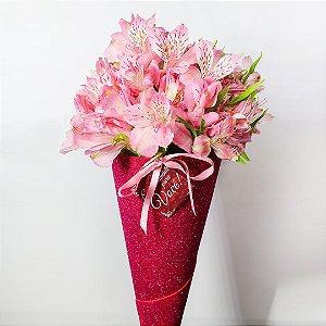 Buquê Shine de Astromélia rosa