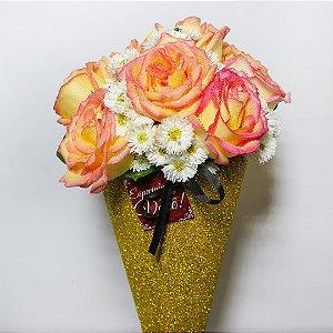 Buquê Shine de Rosas gold