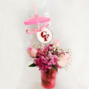 Arranjo Copos Encantadores de Rosas rosa