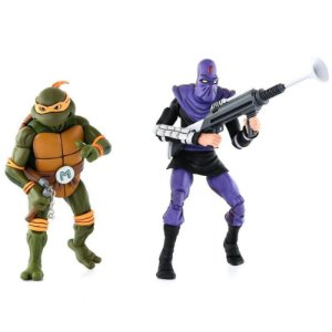 "Michelangelo Vs. Foot Soldier Tartarugas Ninja 2 Pack - 7"" Figure Neca"