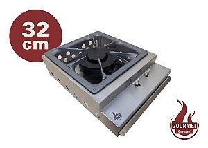 Bifeteira de Sobrepor a Gás em Inox 304 Escovado 32 cm Queimador Industrial Duplo