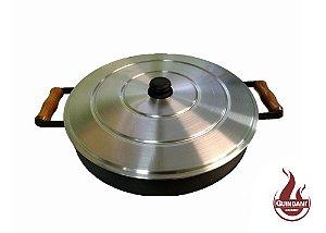 Assadeira Disco de Arado em Aço Carbono Natural de 46 cm de diâmetro com Alça, Borda e Tampa