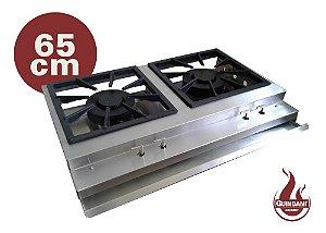 Bifeteira à gas de Sobrepor Dupla 65 cm em Inox 304 Escovado Queimador Industrial Duplo