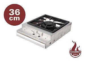Bifeteira de Sobrepor a Gás em Inox 304 Escovado 36 cm Queimador Industrial Duplo