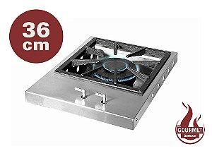 Bifeteira de Embutir a Gás Estilo Cooktop em Inox 304 Escovado 36 cm Queimador Industrial Duplo