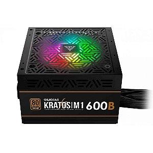 Fonte de Alimentação Gamdias 600W Kratos Rgb 80 PLUS® M1-600 - Gamdias