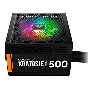 Fonte de Alimentação Gamdias 500W Kratos Rgb 80 PLUS® E1-500W - Gamdias