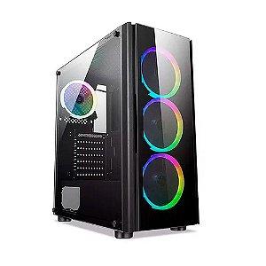 Gabinete Gamer Streamer V2 Mid Tower Vidro Lateral Com 3 Fans - Liketec