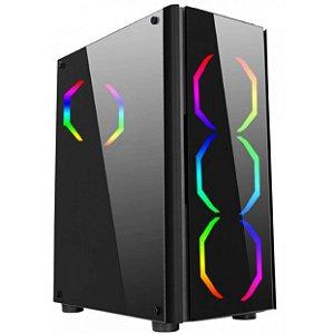 Gabinete Gamer Streamer V1 Mid Tower Com 3 Fans Rgb Hexagonal - Liketec