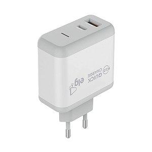 Carregador Universal Usb Quick Charge WC2S-PDQC Branco - ELG