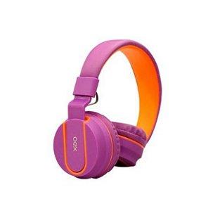 Headset Oex Fluor Com Microfone Dobrável Teen HS107 Roxo e Laranja - Oex