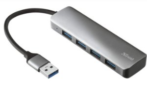 Hub Slim Halyx USB 4 portas USB-A 5 Gbps em Alumínio - 23327 - Trust