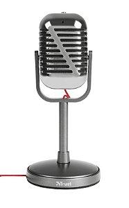 Microfone Elvii Estilo Vintage com Ângulo Ajustável e Botão Silenciar - 21670 - Trust