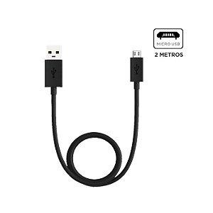 Cabo de Dados e Carga Micro USB 2mt Preto - Motorola