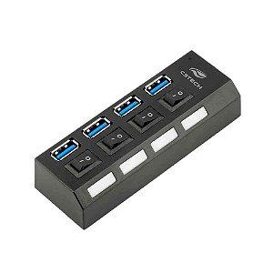 Hub USB 3.0 C3Tech 4 Portas Com Chave HU-S300BK - C3Tech