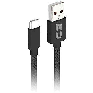 Cabo USB - USB C 2M 2A CB-C21BK - C3TECH