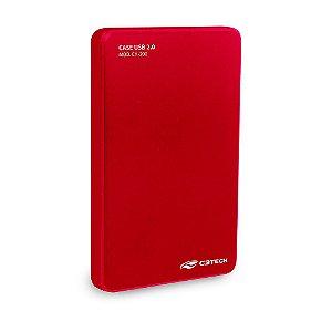 "Gaveta Case pra HD externo 2,5"" USB 2.0 CH-200RD Vermelho - C3TECH"