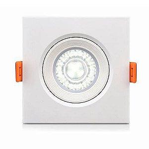 Spotlight Ecospot Dicroica Led embutido quadrado 5W 3000K biv direcionável com lente - ELGIN