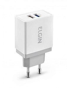 Carregador USB para tomada 2.0A bivolt com 2 saídas 10W - ELGIN