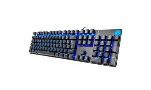 Teclado Mecânico Gamer HP GK400F USB Led Azul Switch Blue ABNT2 Preto - HP