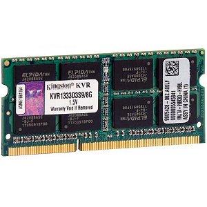Memória Ram 8Gb DDR3 1333mhz CL9 KVR1333D3S9/8 Para Notebook - Kingston