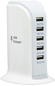 Estação de Carga Para Smartphones Elg TC5S, 20w, 5 Portas USB, Branco - Elg