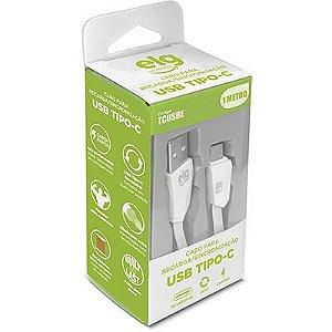 Cabo USB Tipo-C ELG TCUSBE, Sincronização e Recarga, Reversível, Branco - ELG