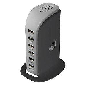 Estação de Carga de Mesa USB 6 Portas para Smartphones Bivolt 40W TC6S PRO - ELG