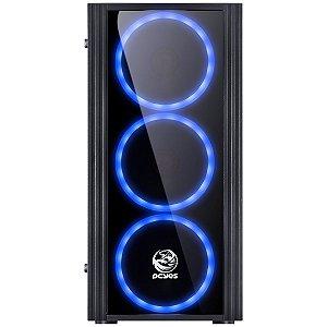 Gabinete Gamer PCYes Saturn, Mid Tower, USB 3.0, 3 Fans LED Azul, Preto, Lateral Acrílica SATPTAZ3FCA - PCYes