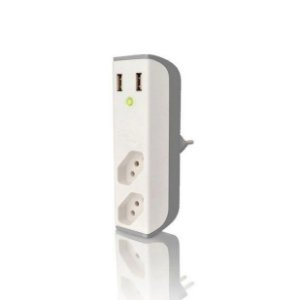 Carregador Usb Com Filtro Bem Ligado 2 Tomadas FL-USB21GWH Branco - Coletek