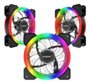 Cooler Kit 3 Fans Gabinete 120x25mm Led Rgb D-Ringer - Alseye