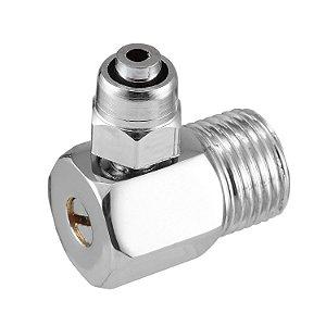 """Cotovelo Adaptador Metal P/ Filtro Geladeira e Purificador De Água Mangueira 1/4"""" (6 mm) C/ Regulador Vazão"""