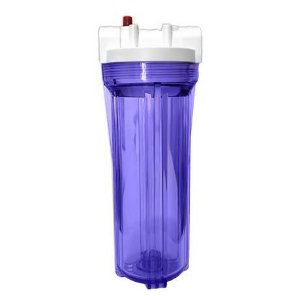 """Carcaça para Filtro de Água Transparente 9""""3/4 - Conex. 3/4"""" c/ Válvula de Alivio Pressão"""