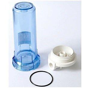 """Carcaça para Filtro 9.3/4"""" Transparente Azul (Sem Refil)"""