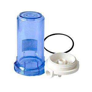 """Carcaça Transparente 7"""" para Filtros - Rosca 1/2 (Sem Refil)"""