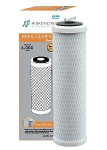 """Refil Carvão Ativado Hidro Filter 9.3/4"""" para Filtros POU"""