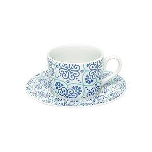 Conjunto de 6  Xicaras de Chá Porcelana com Pires Lisboa  200ml Bon Gourmet