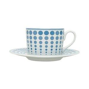 Conjunto de  6 Xicaras Porcelana Chá com Pires Blue Dots  200ml Bon Gourmet