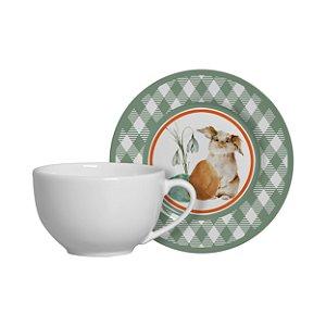 Jogo 6 xícaras de chá + 6 pires Bunny Alleanza