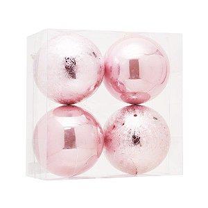 Bolas De Natal Brilho E Craquelada Rosa 12cm 4Pçs Cromus