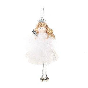 Anjo Com Coroa e Vestido Branco e Prata M (Dolls) 1Un Cromus