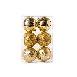 Bolas de Natal Brilho/Mate/Glitter Ouro 8cm 6Pçs Cromus